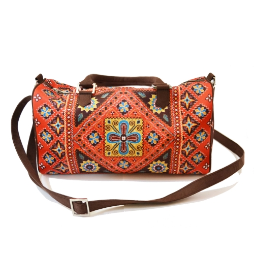 Kutch Colorful Printed Poly-Satin Suede Women Duffle Bag