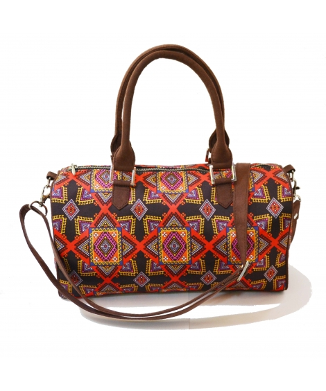 Graphic Colorful Printed Poly-Satin Suede Women Duffle Bag