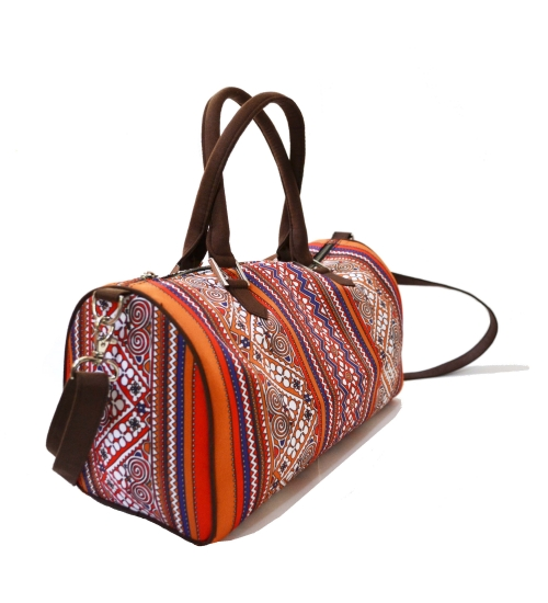 Border Colorful Printed Poly-Satin Suede Women Duffle Bag