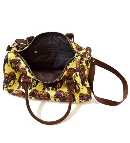 Elephant Colorful Printed Poly-Satin Suede Women Duffle Bag