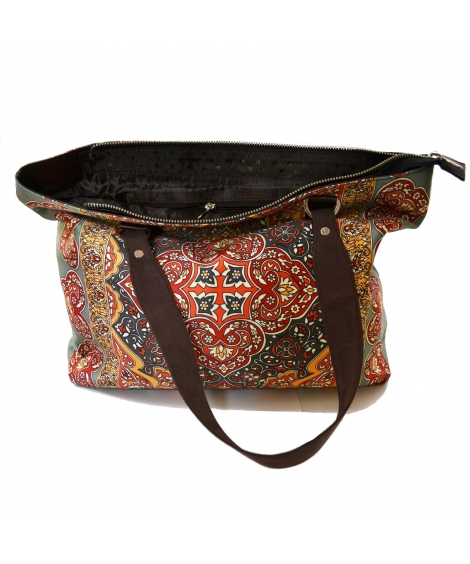 Rug Colorful Printed Poly-Satin Suede Women Handbag