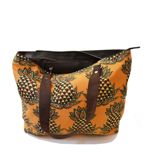Pineapple Colorful Printed Poly-Satin Suede Women Handbag