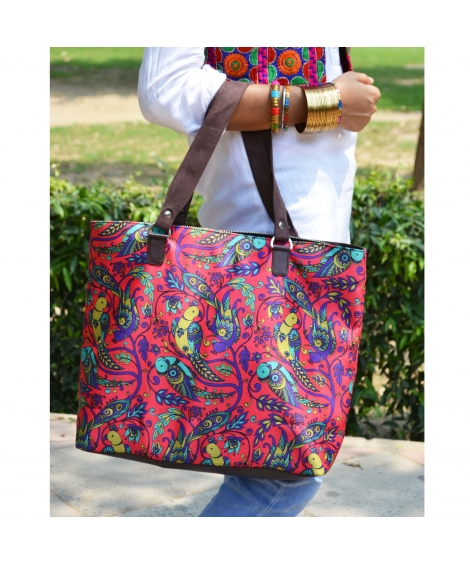 Parrot Colorful Printed Poly-Satin Suede Women Handbag