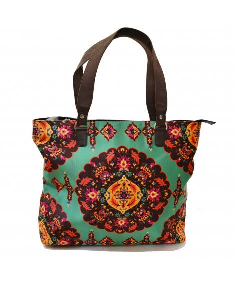 Oriental Colorful Printed Poly-Satin Suede Women Handbag