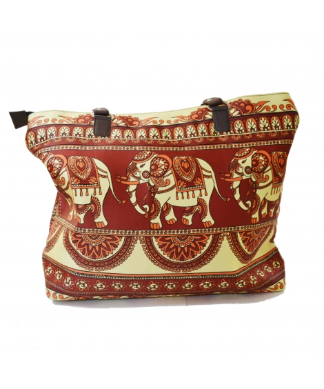 Elephant Colorful Printed Poly-Satin Suede Women Handbag