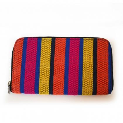 Bold Stripe handloom Woven Clutch