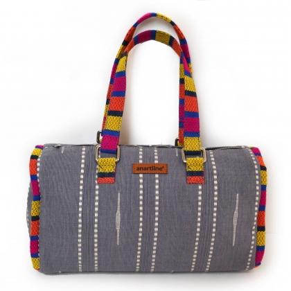 Grey-Multi Handloom Woven Duffle bag