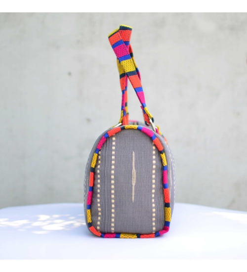 Grey-Multi Colorful Handloom Woven Duffle bag