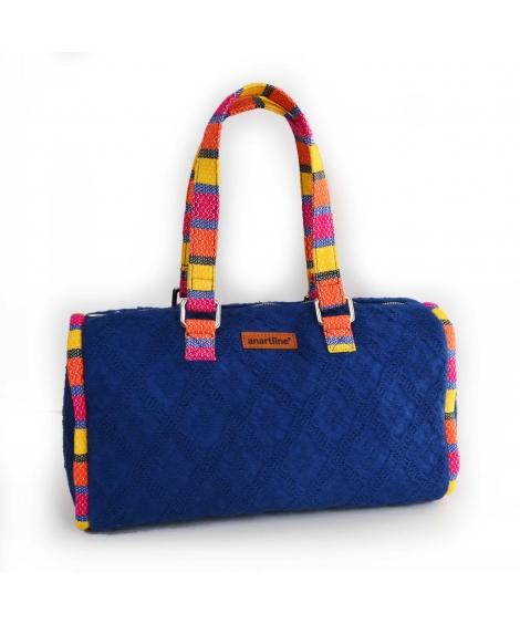 Blue-Multi Handloom Woven Duffle bag