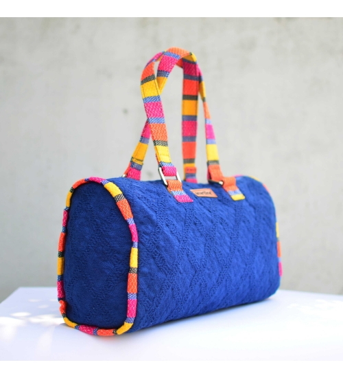 Blue-Multi Colorful Handloom Woven Duffle bag