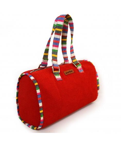 Red-Multi Handloom Woven Duffle bag