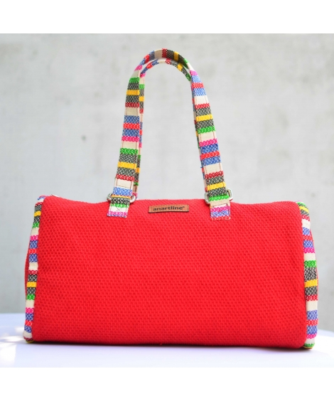 Red-Multi Colorful Handloom Woven Duffle bag
