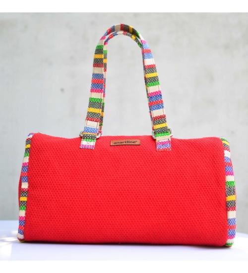 Red-Multi Colorful Handloom Woven Duffle bag