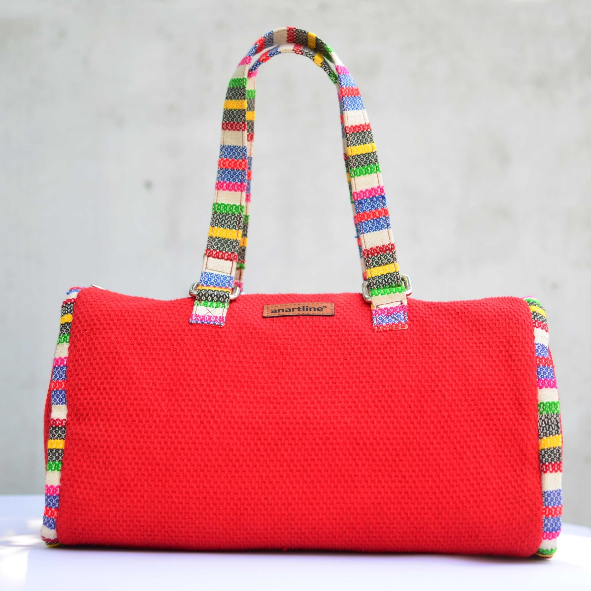 6cdc68c29923 Red-Multi Handloom Woven Duffle Bag-Colorful Women Bag