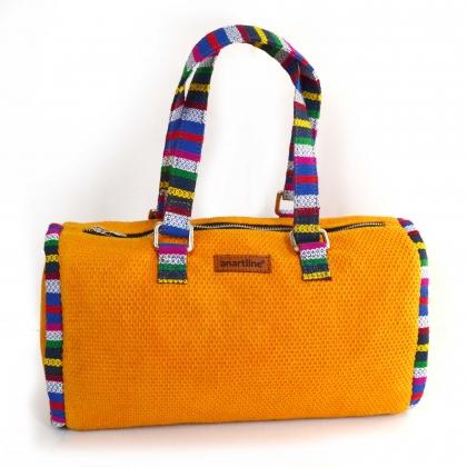 Yellow-Multi Handloom Woven Duffle bag