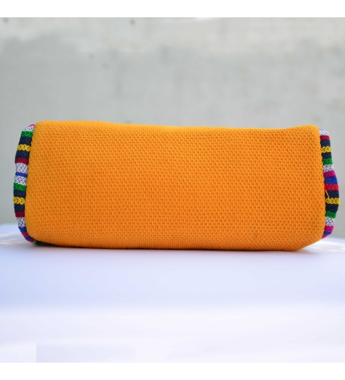 Yellow-Multi Colorful Handloom Woven Duffle bag