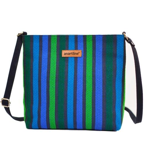 Blue-Green Colorful Handloom Woven Sling Bag