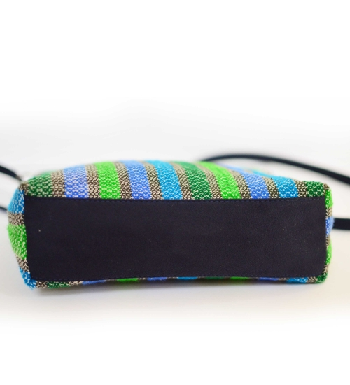 Blue-Green Texture Handloom Woven Sling Bag