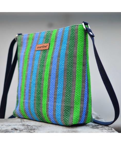 Blue-Green Texture Handloom Woven Sling Bag