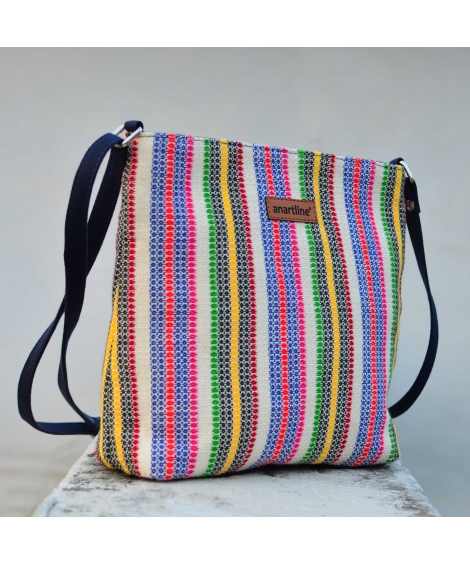 Diamond White Colorful Handloom Woven Sling Bag