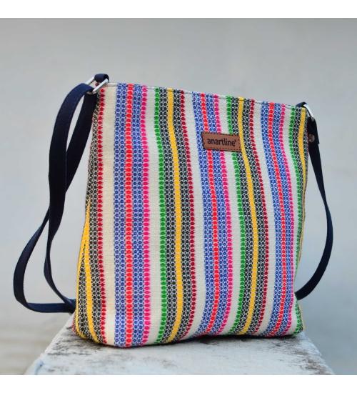 Diamond White Colorful Handloom Woven Sling Bag