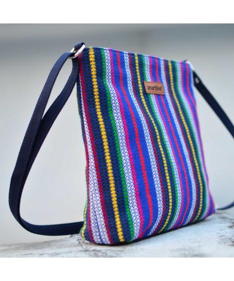 Diamond Blue Colorful Handloom Woven Sling Bag