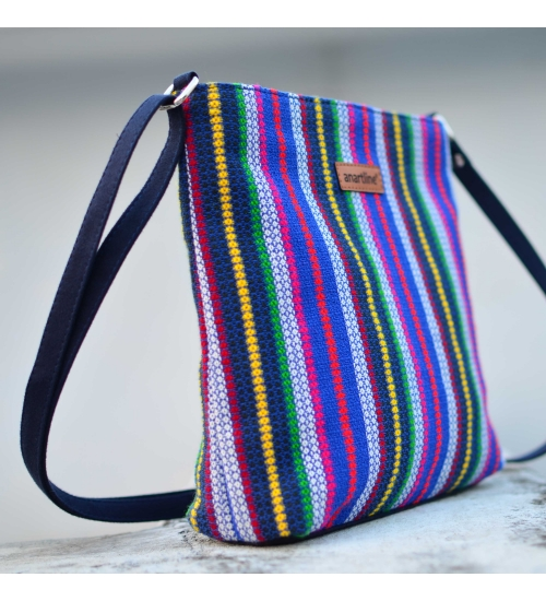 Diamond Blue Colorful Handloom Woven Sling Bag