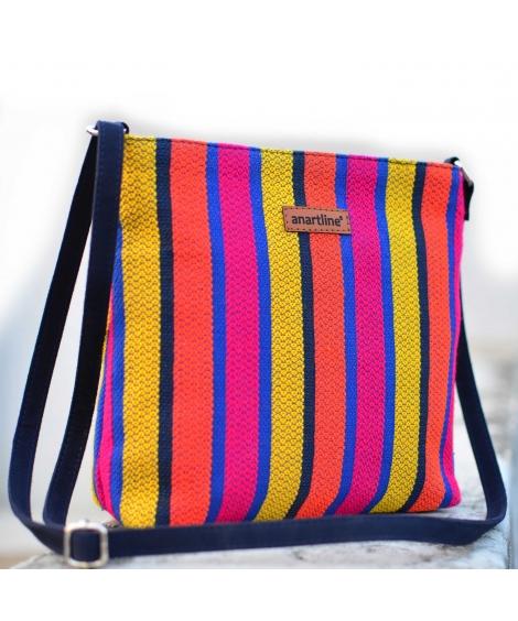 Bold Stripe Colorful Handloom Woven Sling Bag