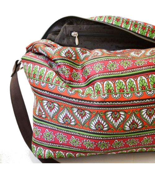 Border Colorful Printed Poly-Satin Suede Women Jhola Bag