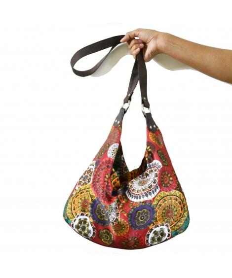 Mandala Colorful Printed Poly-Satin Suede Women Jhola Bag