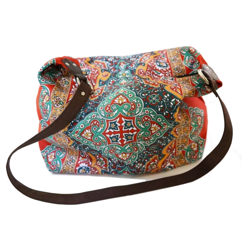 Rug Colorful Printed Poly-Satin Suede Women Jhola Bag