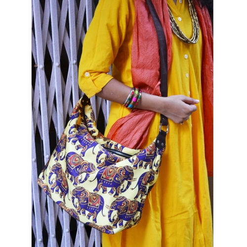 Elephant Colorful Printed Poly-Satin Suede Women Jhola Bag
