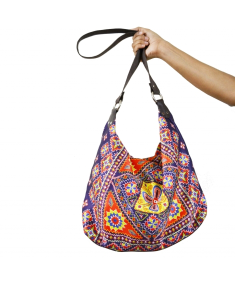 Kutch Colorful Printed Poly-Satin Suede Women Jhola Bag