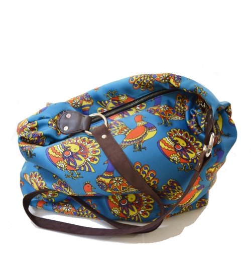 Pigeon Colorful Printed Poly-Satin Suede Women Jhola Bag