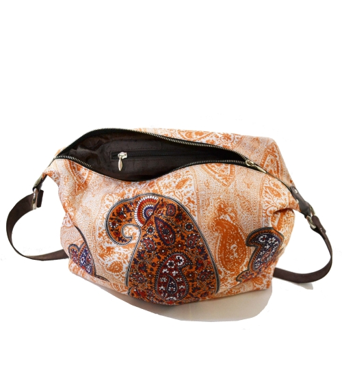 Paisley Colorful Printed Poly-Satin Suede Women Jhola Bag