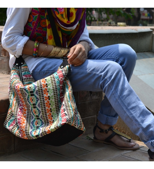 Woven Dobby Colorful Canvas Women Jhola Bag