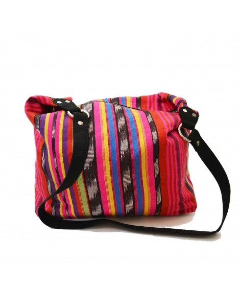 Pink Ikat Colorful Canvas Women Jhola Bag