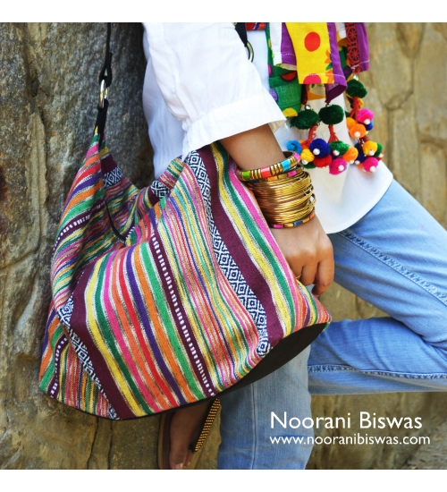 Multi Ikat Colorful Canvas Women Jhola Bag