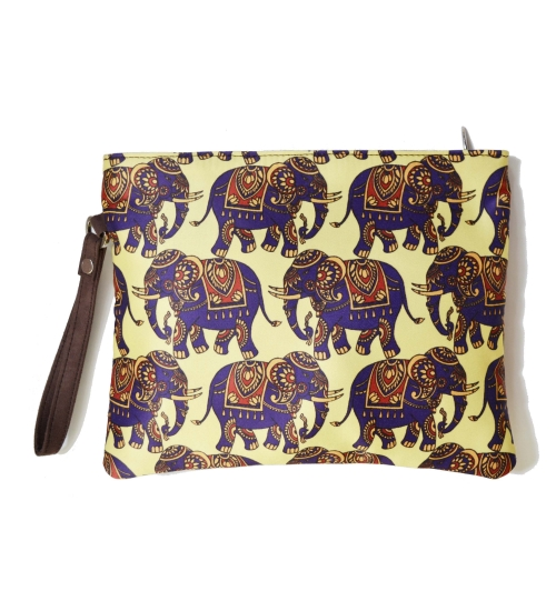 Elephant 1 Colorful Printed Poly-Satin Women Pouch