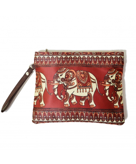 Elephant 2 Colorful Printed Poly-Satin Women Pouch