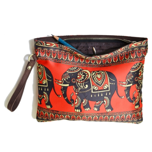 Elephant 3 Colorful Printed Poly-Satin Women Pouch