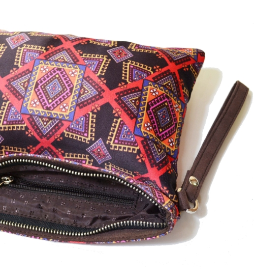 Graphic 2 Colorful Printed Poly-Satin  Women Pouch