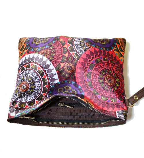 Pink 1 Colorful Printed Poly-Satin Women Pouch
