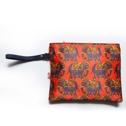 Elephant Colorful Printed Poly-Satin Women Pouch