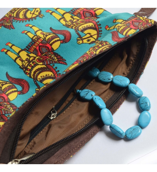 Horse Colorful Printed Poly-Satin Women Pouch