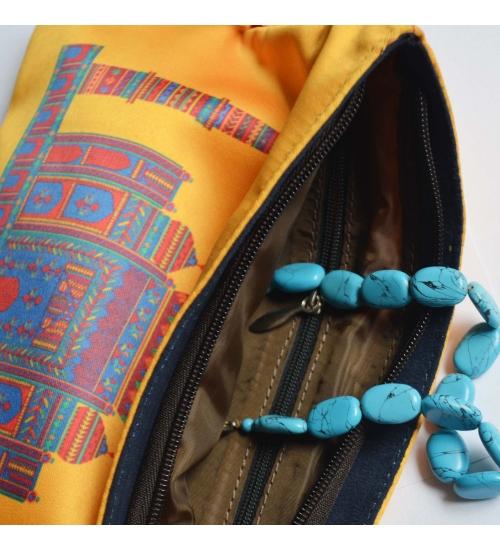 Yellow Taj Mahal Colorful Printed Poly-Satin Women Pouch