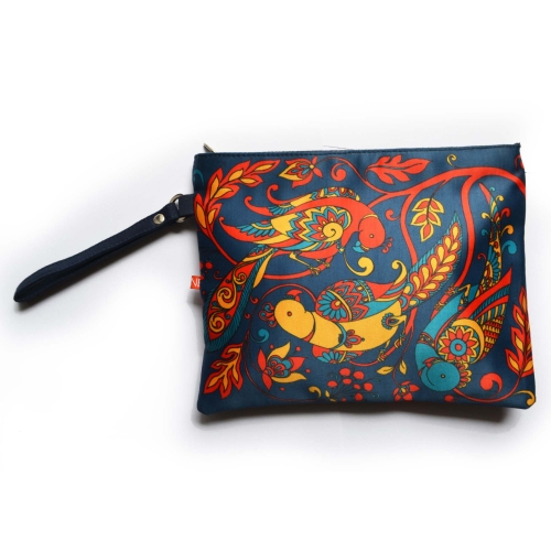 Blue Parrot Colorful Printed Poly-Satin Women Pouch