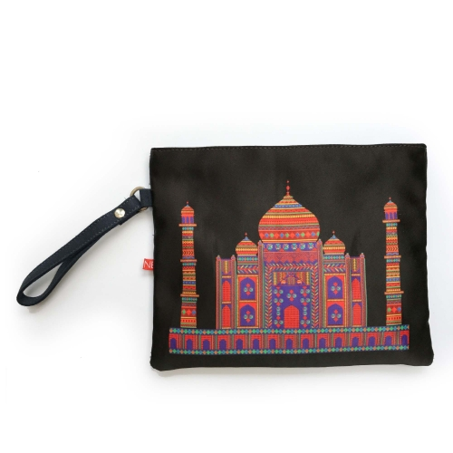 Black Taj Colorful Printed Poly-Satin Women Pouch