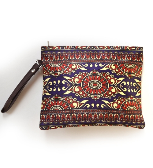 Border 1 Colorful Printed Poly-Satin Women Pouch