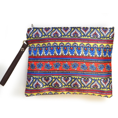 Border 2 Colorful Printed Poly-Satin Women Pouch